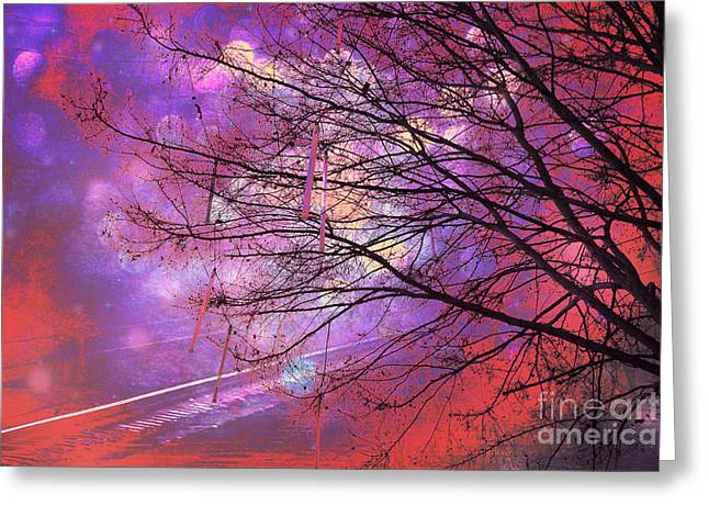 Surreal Gothic Fantasy Abstract Bokeh Tree Nature - Abstract Black Purple Orange Trees Greeting Card by Kathy Fornal