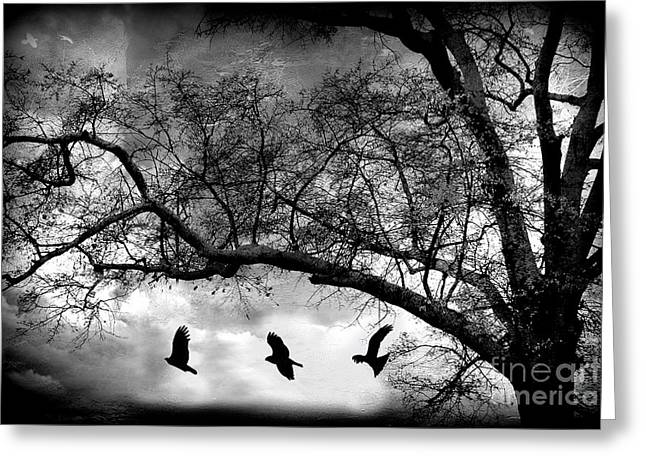 Surreal Gothic Fantasy Tree Nature Landscape - Haunting Surreal Trees With Flying Ravens  Greeting Card by Kathy Fornal