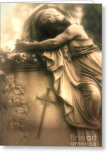 Surreal Gothic Haunting Cemetery Mourner On Grave With Cross And Roses Coffin Greeting Card by Kathy Fornal