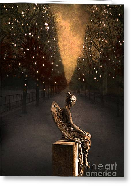 Surreal Gothic Haunting Emotive Angel Sitting On Bench   Greeting Card
