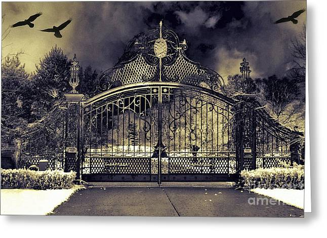 Surreal Gothic Haunting Gate With Flying Ravens Greeting Card by Kathy Fornal