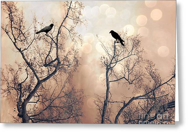 Surreal Gothic Nature Ravens Trees - Surreal Fantasy Dreamy Trees Nature Raven Crows Trees  Greeting Card by Kathy Fornal