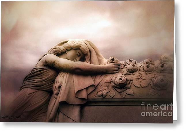 Surreal Gothic Sad Angel Female Cemetery Mourner At Rose Casket Coffin - Haunting Surreal Grave Art Greeting Card by Kathy Fornal