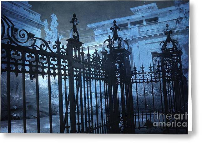 Surreal Gothic Savannah Mansion Black Rod Iron Gates Greeting Card by Kathy Fornal