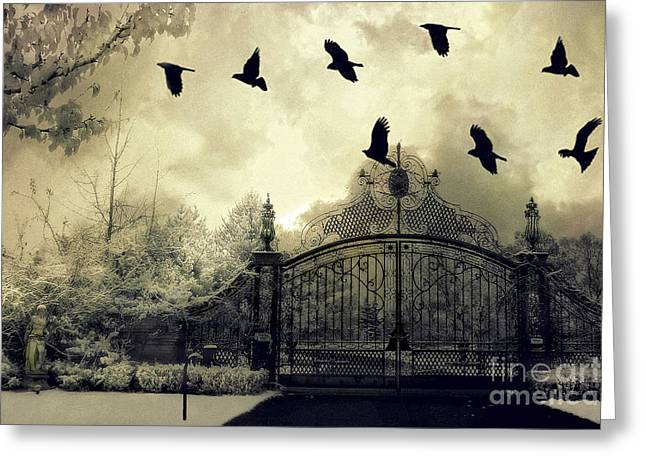 Surreal Gothic Spooky Haunting Gate With Ravens Greeting Card by Kathy Fornal