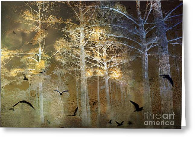 Surreal Haunting Fantasy Nature With Flying Ravens Greeting Card by Kathy Fornal