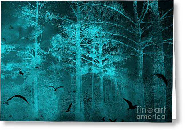 Surreal Haunting Fantasy Teal Green Nature Trees With Flying Ravens  Greeting Card by Kathy Fornal