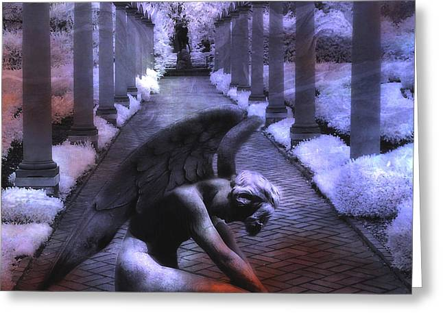 Surreal Infrared Fantasy Angel Art Landscape Greeting Card by Kathy Fornal