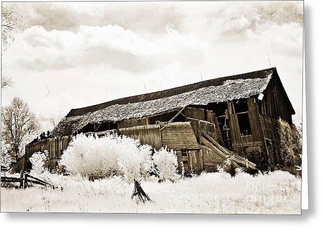 Surreal Infrared Sepia Old Crumbling Barn Landscape - The Passage Of Time Greeting Card