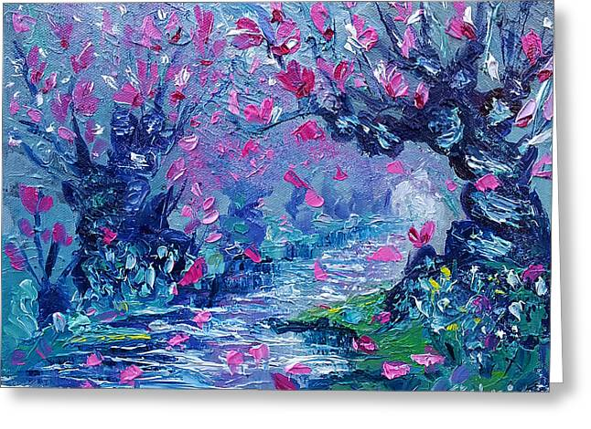 Surreal Landscape Art Pink Flower Tree Painting By Ekaterina Chernova Greeting Card