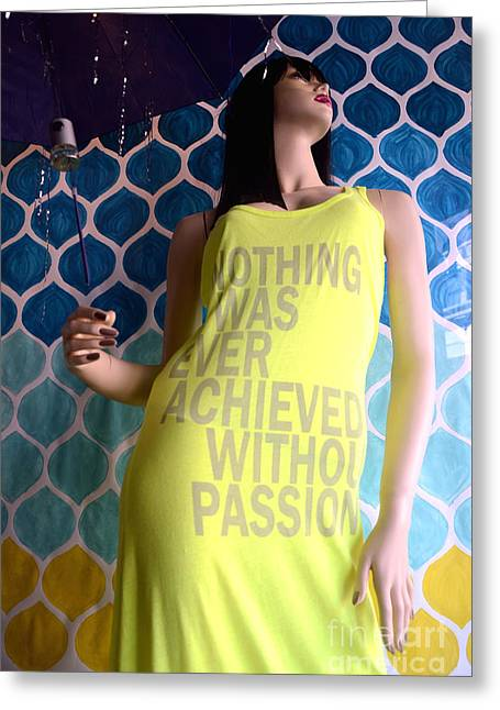 Surreal Mannequin Female In Yellow Dress - Summer Fashion Photography - Typography Quote Greeting Card by Kathy Fornal