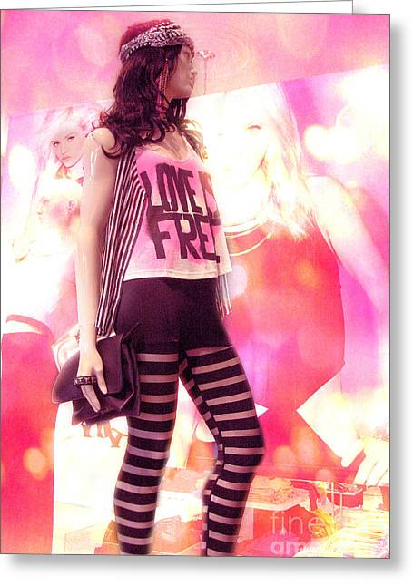 Surreal Mannequin Hot Pink Retro - Fantasy Art Deco Rock Star Fashion Poster Art Greeting Card by Kathy Fornal