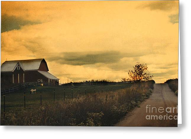 Surreal Michigan Farm Yellow Sky Rural Country Road Barn Landscape Greeting Card by Kathy Fornal