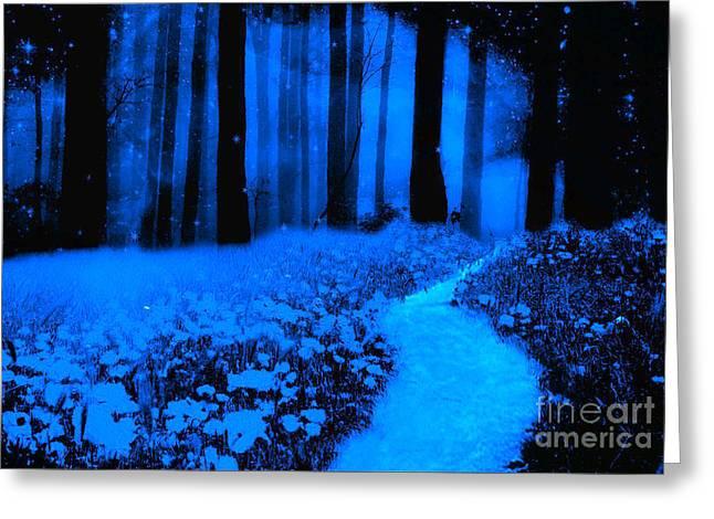 Surreal Moonlight Blue Haunting Dark Fantasy Nature Path Woodlands Greeting Card