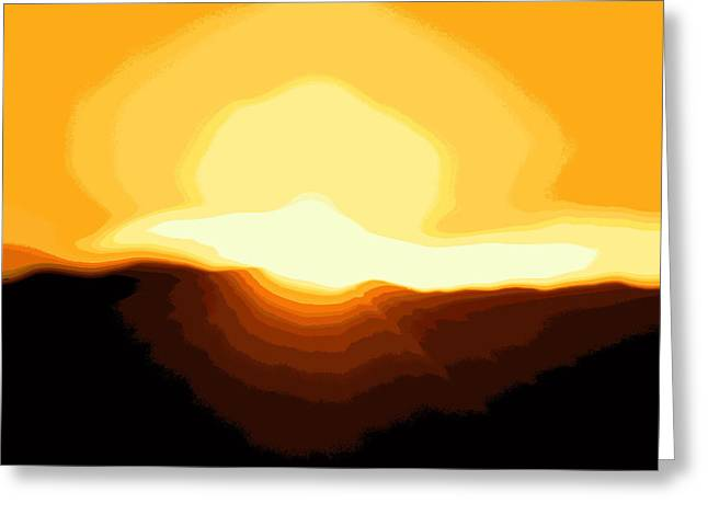 Surreal Mountain Sunset Greeting Card