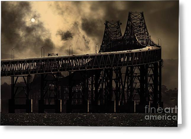 Surreal Night At The Bay Area Richmond-san Rafael Bridge - 7d18536 - Sepia Greeting Card by Wingsdomain Art and Photography