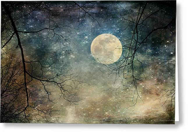 Surreal Night Sky Moon And Stars Greeting Card