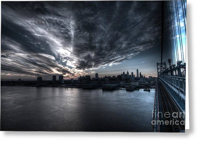Surreal Philadelphia Skyline Greeting Card by Mark Ayzenberg