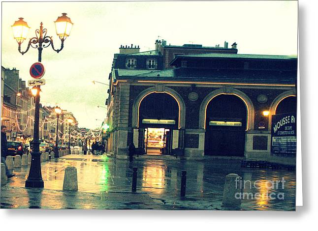 Surreal Rainy Night Streets Of Versailles France  Greeting Card