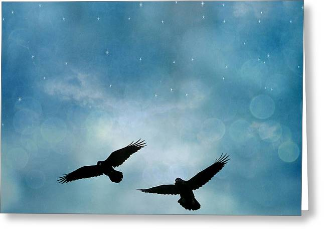 Surreal Ravens Crows Flying Blue Sky Stars Greeting Card