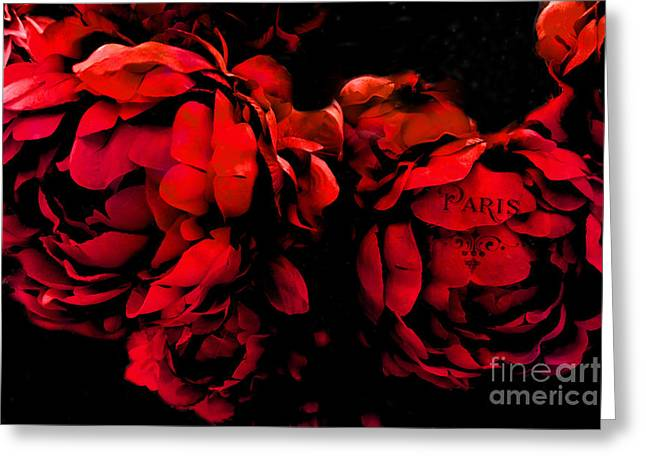 Paris Red Peonies -valentine Red And Black Surreal Flower Peony Art  - Paris Red Black Peony Decor Greeting Card