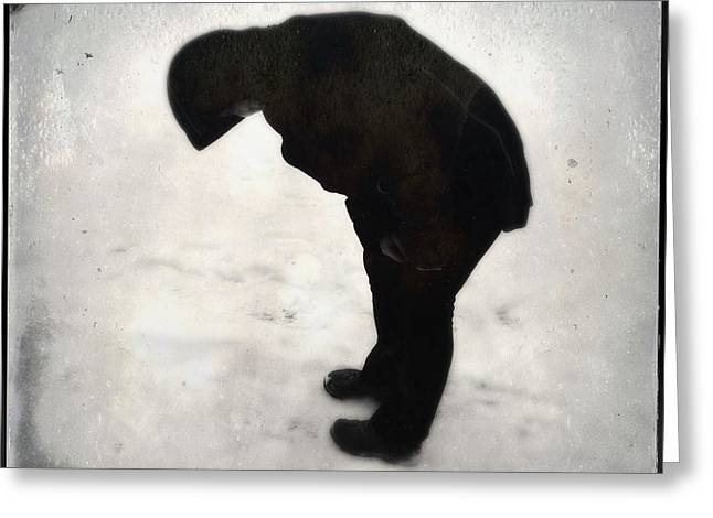 Surreal Silhouette Of A Person In The Snow Greeting Card by Matthias Hauser
