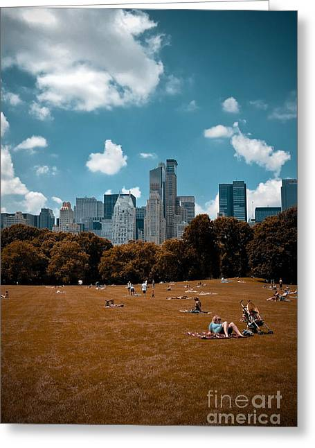 Surreal Summer Day In Central Park Greeting Card