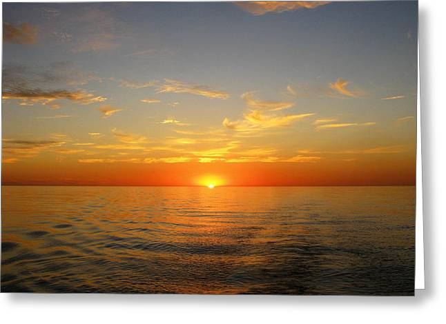 Surreal Sunrise At Sea Greeting Card by Anne Mott