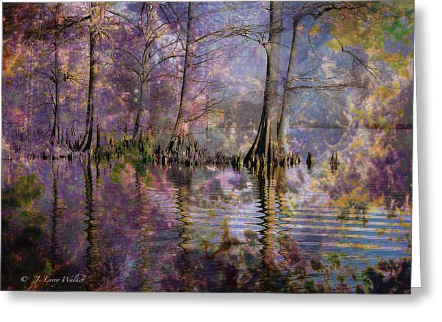 Greeting Card featuring the digital art Surrealistic Morning Reflections by J Larry Walker