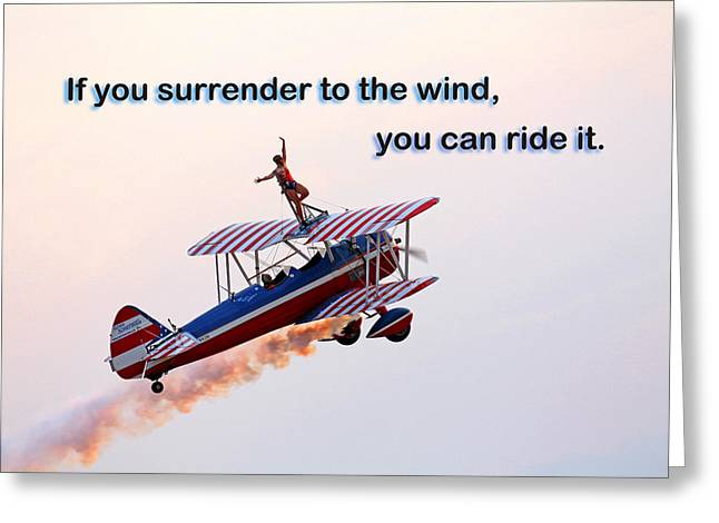 Surrender To The Wind Greeting Card by Mike Flynn