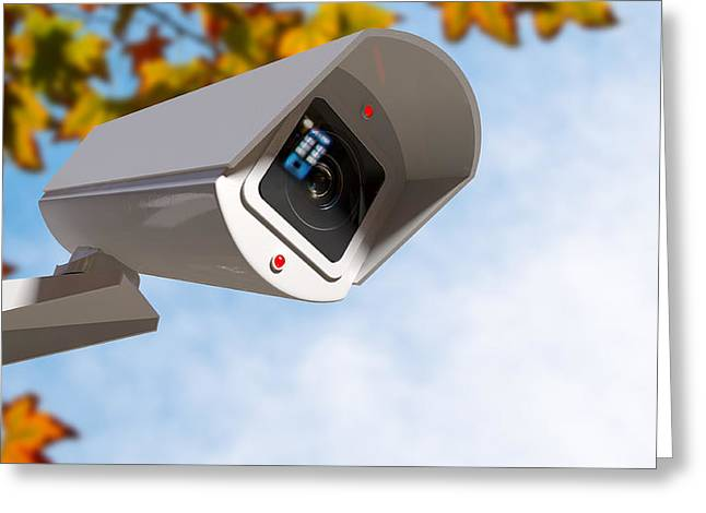 Surveillance Camera In The Daytime Greeting Card by Allan Swart