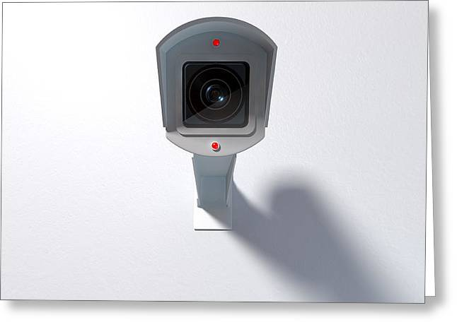 Surveillance Camera On White Greeting Card by Allan Swart