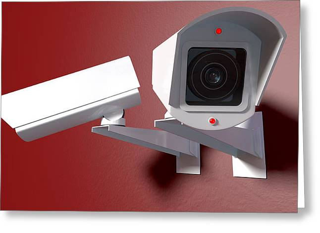 Surveillance Cameras On Red Greeting Card