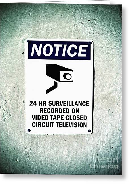 Surveillance Sign On Concrete Wall Greeting Card