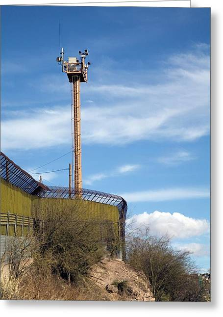 Surveillance Tower At Us-mexico Border Greeting Card by Jim West