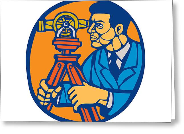 Surveyor Geodetic Theodolite Woodcut Linocut Greeting Card