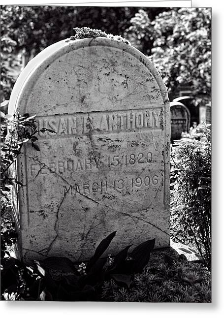 Susan B. Anthony Grave Marker Bw Greeting Card