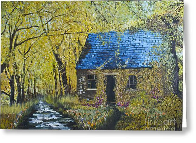Greeting Card featuring the painting Susan's Cottage by Suzette Kallen