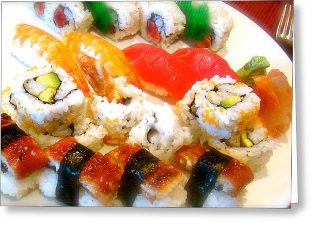 Sushi Dinner In New York Greeting Card by Michael Dagostino