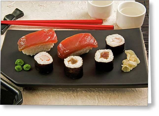 Sushi (nigiri With Salmon And Norimaki Greeting Card by Nico Tondini