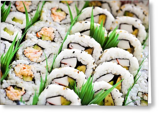 Sushi Platter Greeting Card by Elena Elisseeva