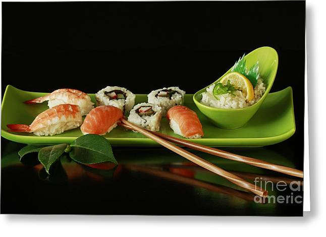 Sushi Seafood Indulgence Greeting Card by Inspired Nature Photography Fine Art Photography