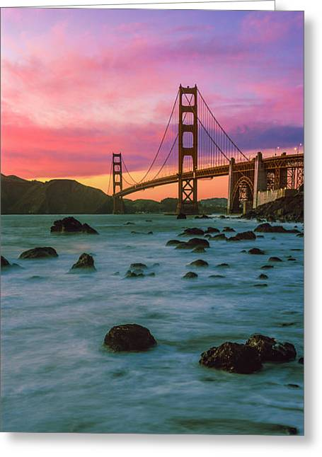 Suspension Bridge Across A Bay At Dusk Greeting Card