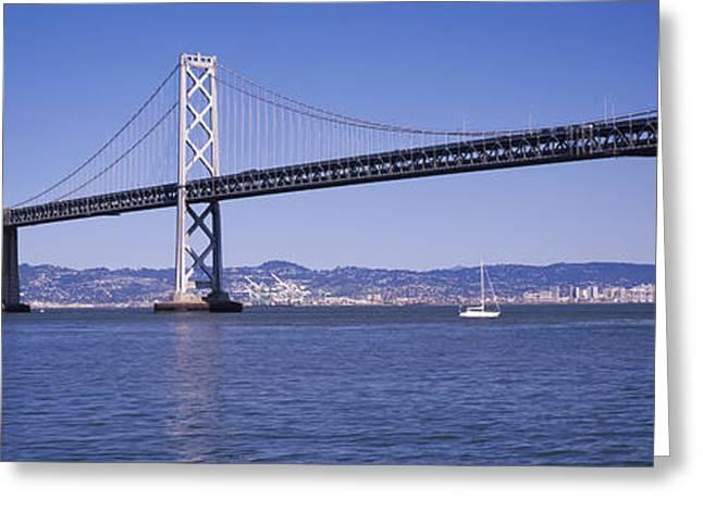 Suspension Bridge Across The Bay, Bay Greeting Card