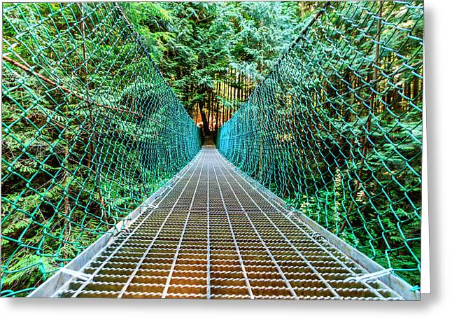 Suspension Bridge On Vancouver Island, B Greeting Card