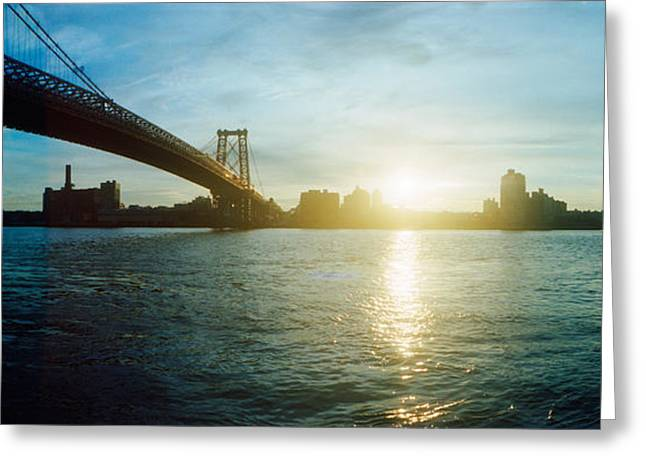 Suspension Bridge Over A River Greeting Card by Panoramic Images
