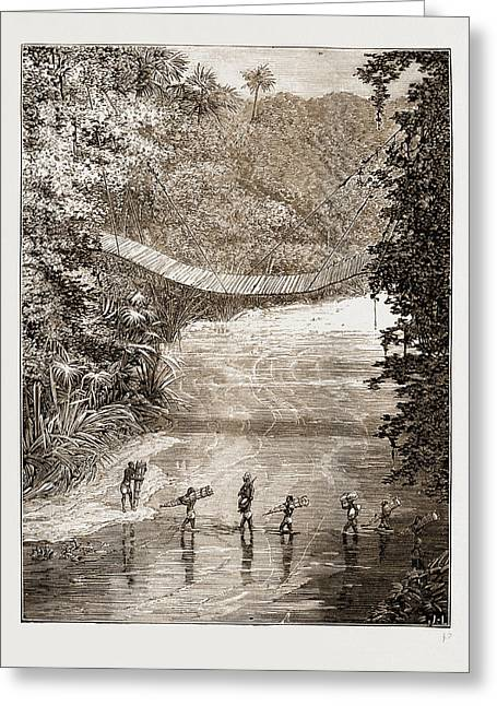 Suspension Bridge Over The Lulindi, Africa Greeting Card