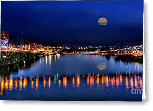 Suspension Bridge Wheeling Wv Panoramic Greeting Card