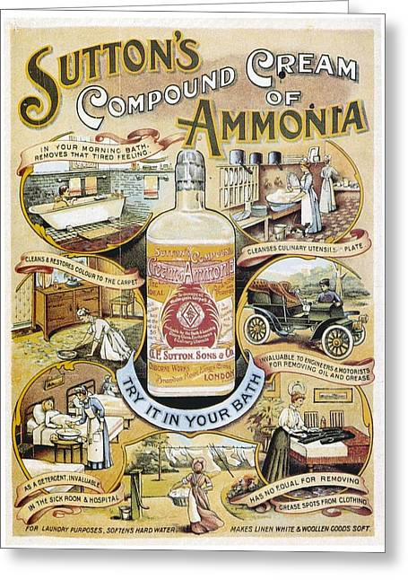 Sutton's Compound Cream Of Ammonia Vintage Ad Greeting Card by Gianfranco Weiss