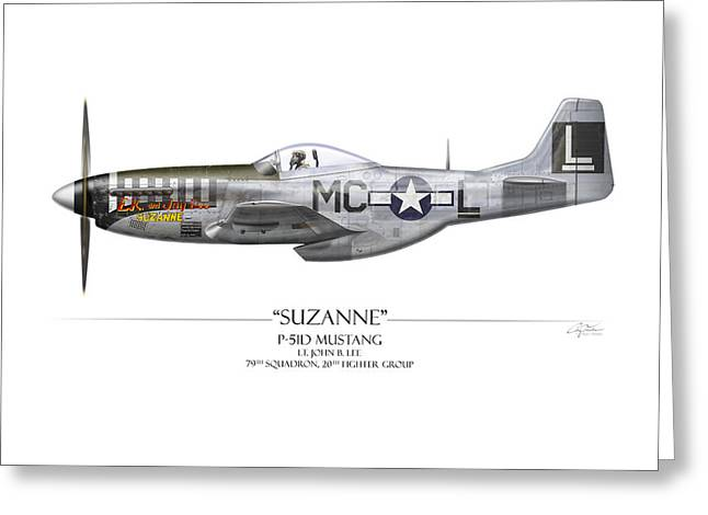 Suzanne P-51d Mustang - White Background Greeting Card by Craig Tinder